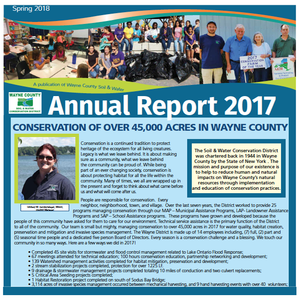Annual Report on Conservation across Wayne County, NY 2017